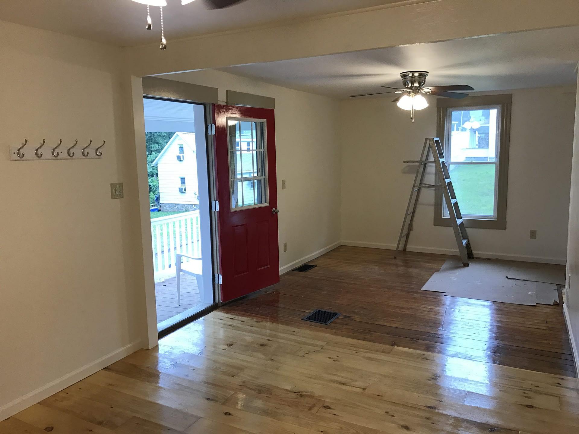 Living room with view of front door