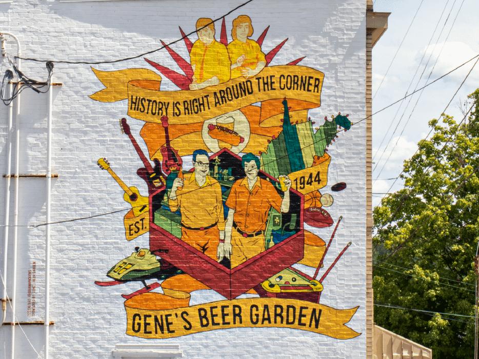 Mural on Gene's Beer Garden building
