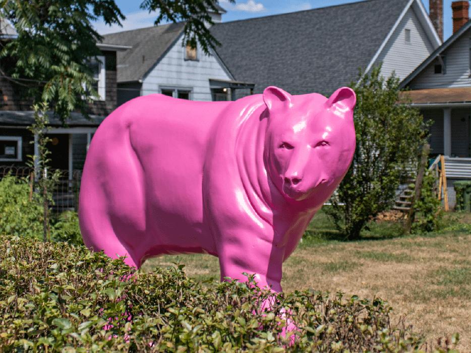 pink bear sculpture
