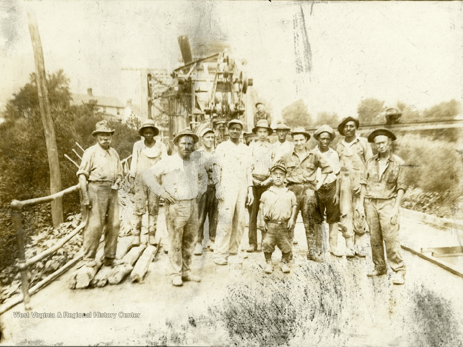 old photo of construction workers